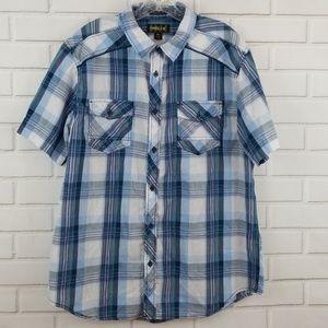 Helix Western Plaid Short Sleeve Button Down Shirt